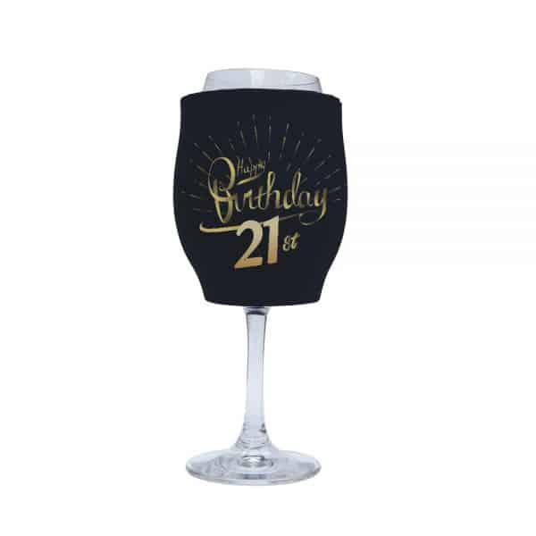 Birthday 21st Stubby Holder Wine