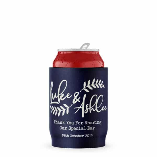Wedding Navy Floral Stubby Holder Beer Can