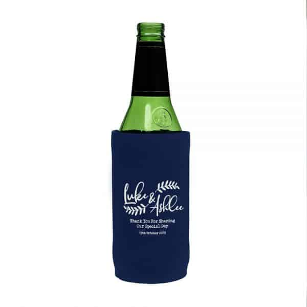 Wedding Navy Floral Stubby Holder Beer Tall